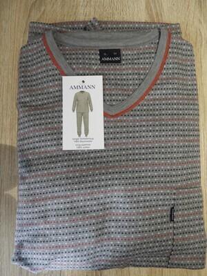 Ammann Heren Pyjama: Grijs bedrukt, afgewerkt met rood