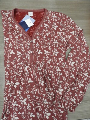 Ammann Dames Nachthemd: Bordeau, Frons onder de borst