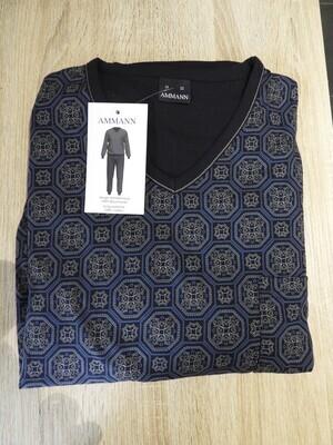 Ammann Heren Pyjama: Blauw, v hals tot 3XL