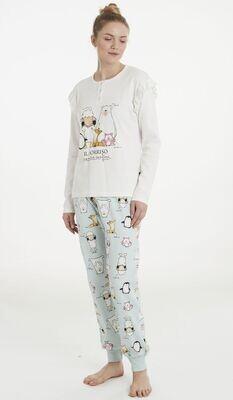 Happy People Dames Pyjama: Ecru / groen