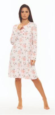 Gary Dames Nachthemd: Roze, interlock warm katoen