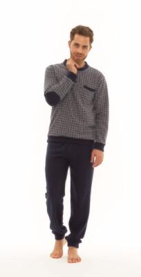 Gary Herenpyjama / Homewear: Blauw, pied de poules motief