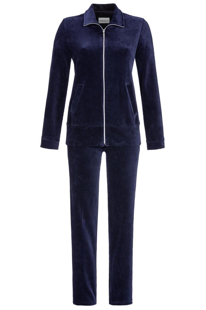 Ringella Dames Homewear: Blauw, rits, velours