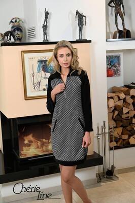 Ringella Dames slaapkleed / Homewear: Zwart, kol met rits