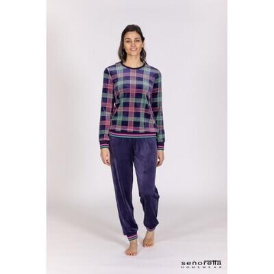 Egatex Dames Pyjama: Velours, Paars gestreept