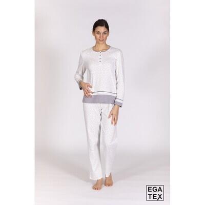 Egatex Dames Pyjama: Ecru / grijs, 100% Katoen