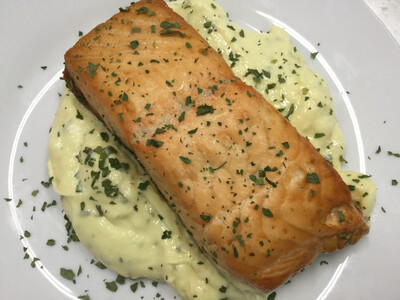 gegrilde zalmfilet in bearnaise saus