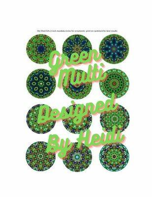 Green Multi 2 inch Mandala Circles for ornaments (Download)