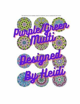 Purple/Green Multi Design Mandalas for Ornaments (Download)
