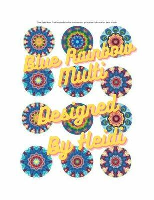 Blue Rainbow Multi Design Mandalas for Ornaments (Download)