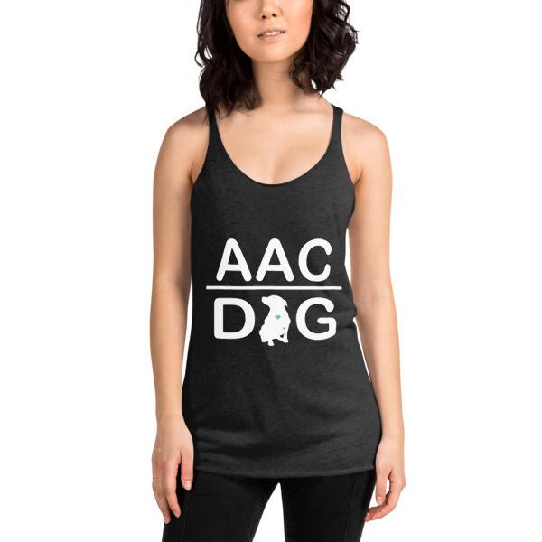 #AACdog White Logo Women's Racerback Tank
