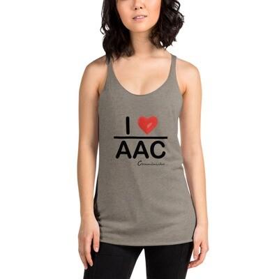 I <3 AAC: White/Gray Women's Racerback Tank