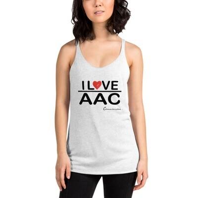 I <3 AAC: (LOVE) Gray/White Women's Racerback Tank