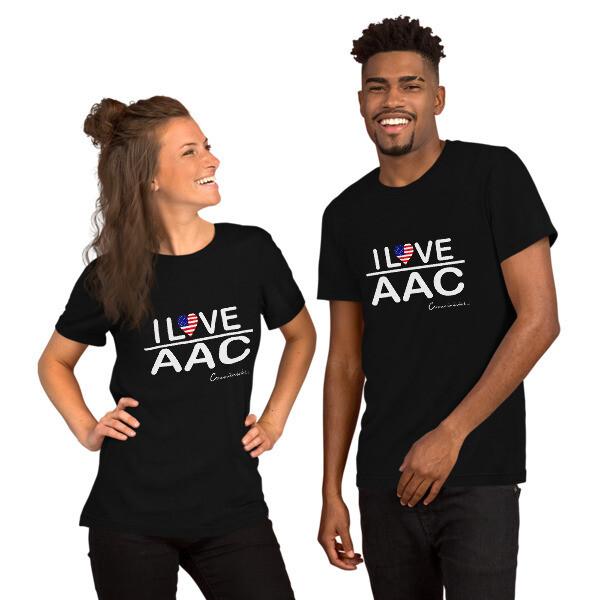 I <3 AAC: U.S. Flag (Multiple Dark Colors) Short-Sleeve Unisex T-Shirt