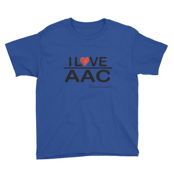 I <3 AAC: Blue/Teal/Grey Youth Short Sleeve T-Shirt