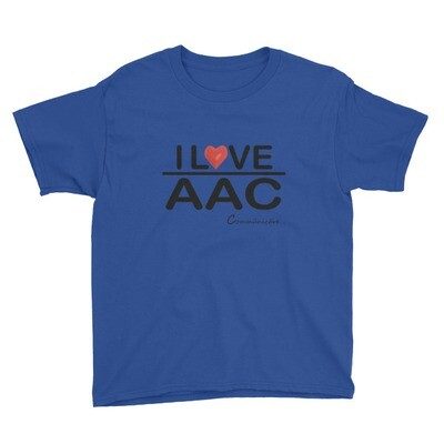 I <3 AAC: Blue/Teal/Grey Youth Short Sleeve T-Shirt