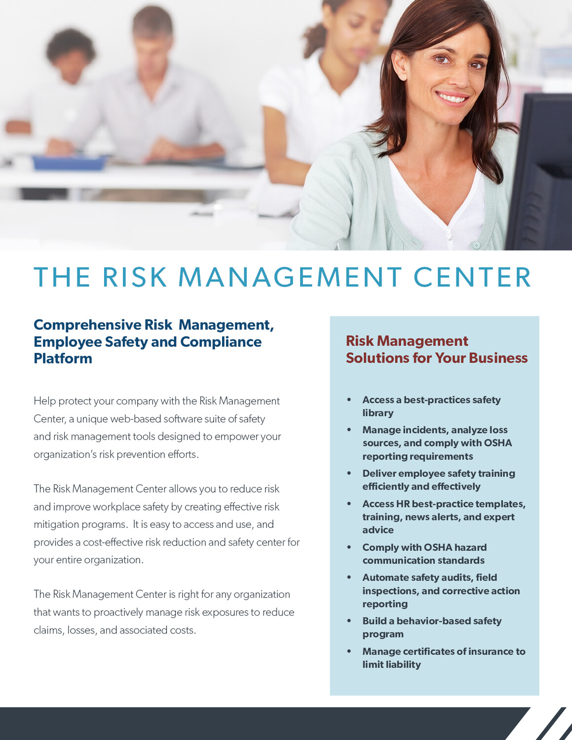 The Risk Management Center: A Web-Based Risk Reduction Platform