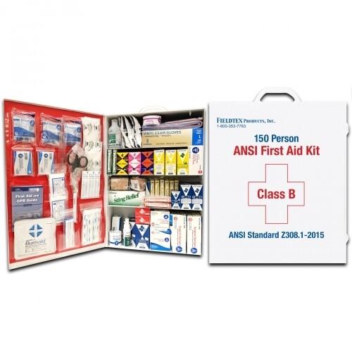 ANSI B 150 Person Metal Four Shelf First Aid Kit w/ Medications