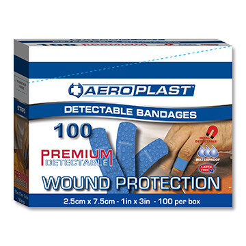 Blue Metal Detectable Fabric Bandages 1