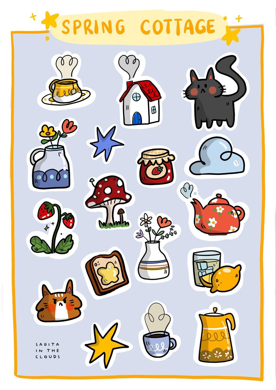 "Bullet Journal Stickers ""Spring Cottage"""