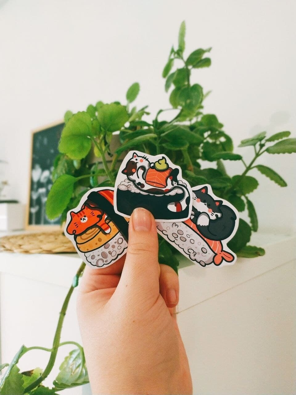 Set 3 Stickers Sushi Cats