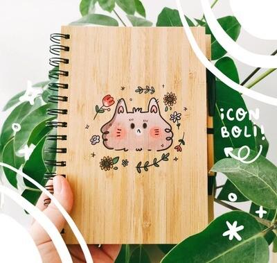 Libreta Bamboo A5 Spring cat