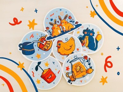 Set 6 Stickers Primary Colors