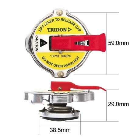 TRIDON RADIATOR CAP (WITH SAFETY LEVER) – LARGE