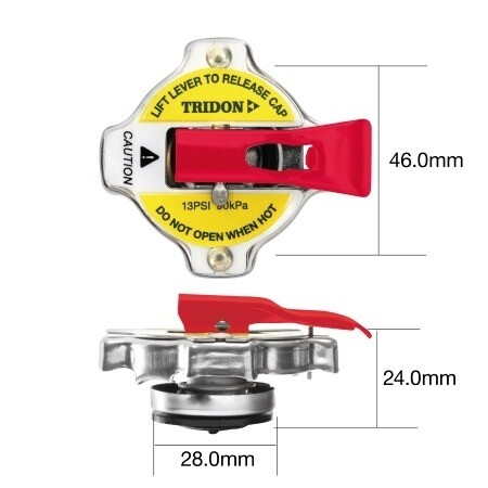 TRIDON RADIATOR CAP (WITH SAFETY LEVER) – SMALL
