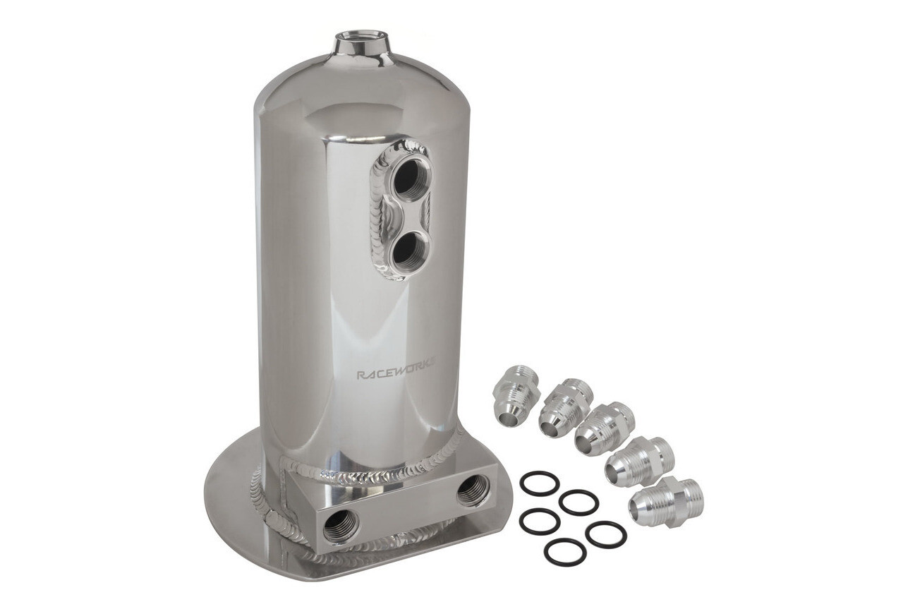 Raceworks 2.5L Surge Tank AN-8 Dual Outlet – Polished