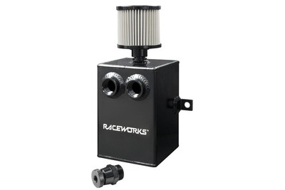 Raceworks Black Aluminium Catch Can With Drain Tap 2L