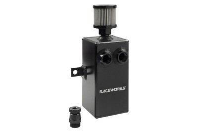 Raceworks Black Aluminium Catch Can With Drain Tap 1L