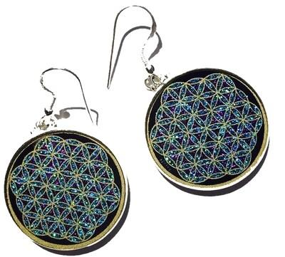 Brincos Flor da Vida (lapis lazuli)  par