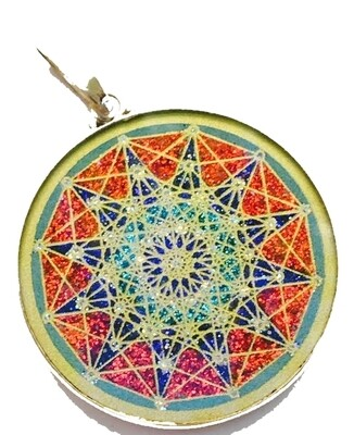 Pingente Grande Geometria Sagrada Estrella de 12 puntas 6ta Dimensao (turquesa)