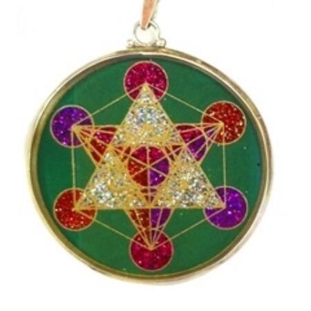 Pingente Grande Geometria Sagrada Cubo de Metatron (malaquita verde)