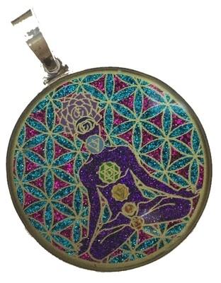 Pingente Grande Geometria Sagrada Chakra Man (turquesa)