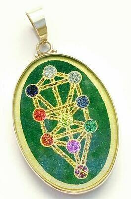 Pingente Grande Geometria Sagrada Árvore da Vida (malaquita verde)