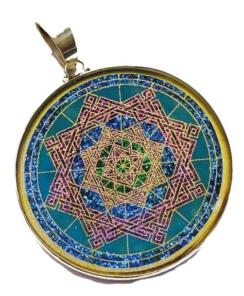 Pingente Grande Geometria Sagrada Estrella de Lakshmi Abundancia (lapis lazuli)