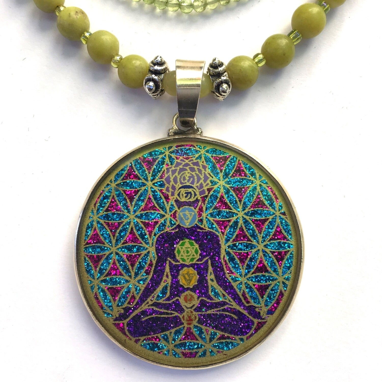 Colar Grande Geometria Sagrada Chakra Man (turquesa, aventurina e selenite)