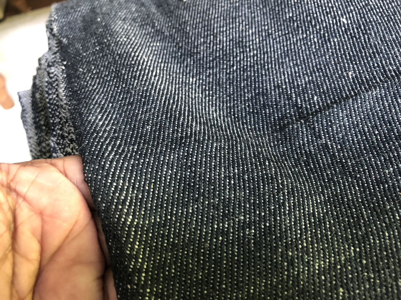 Hand Spun Hand Woven Woven Black Color  Denim Fabric