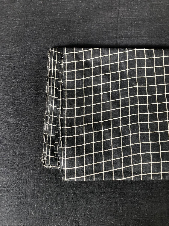 Hand Spun Hand Woven Cotton Fabric Black Color