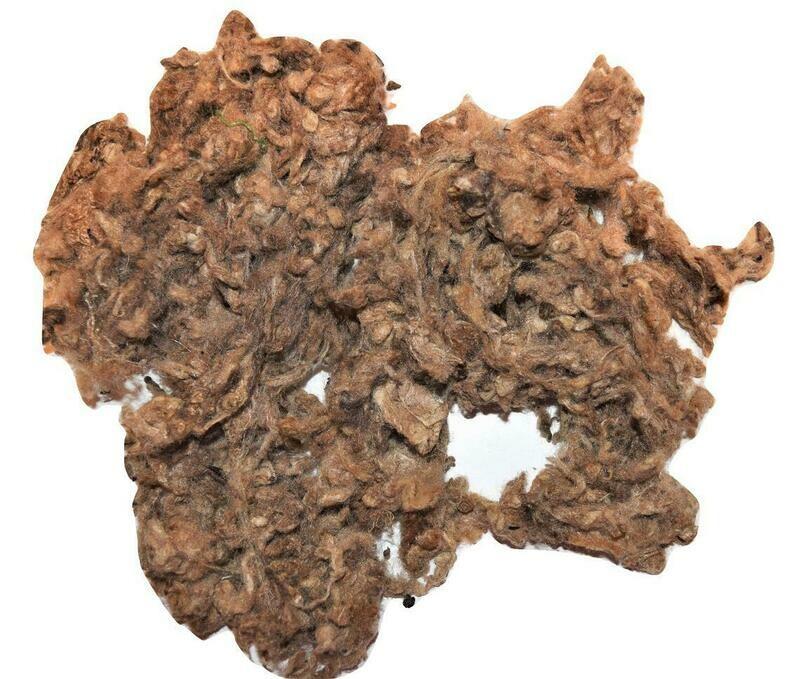 Tussah Silk Fiber Waste for Spinning, Felting, Carding, Blending Brown Color .