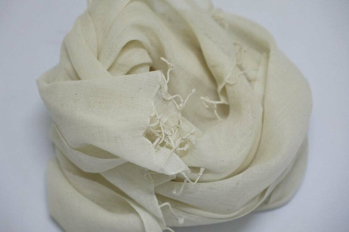 Cream Light weight Plain Spring Summer Hand Woven Cotton Off White Scarf for Dyeing or Printing