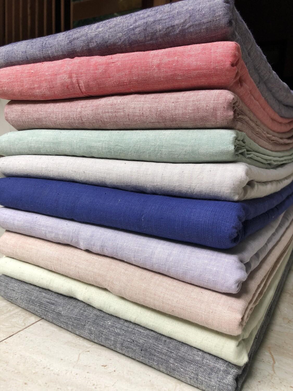 Hand Spun Hand Woven Cotton Fabric Plain Color