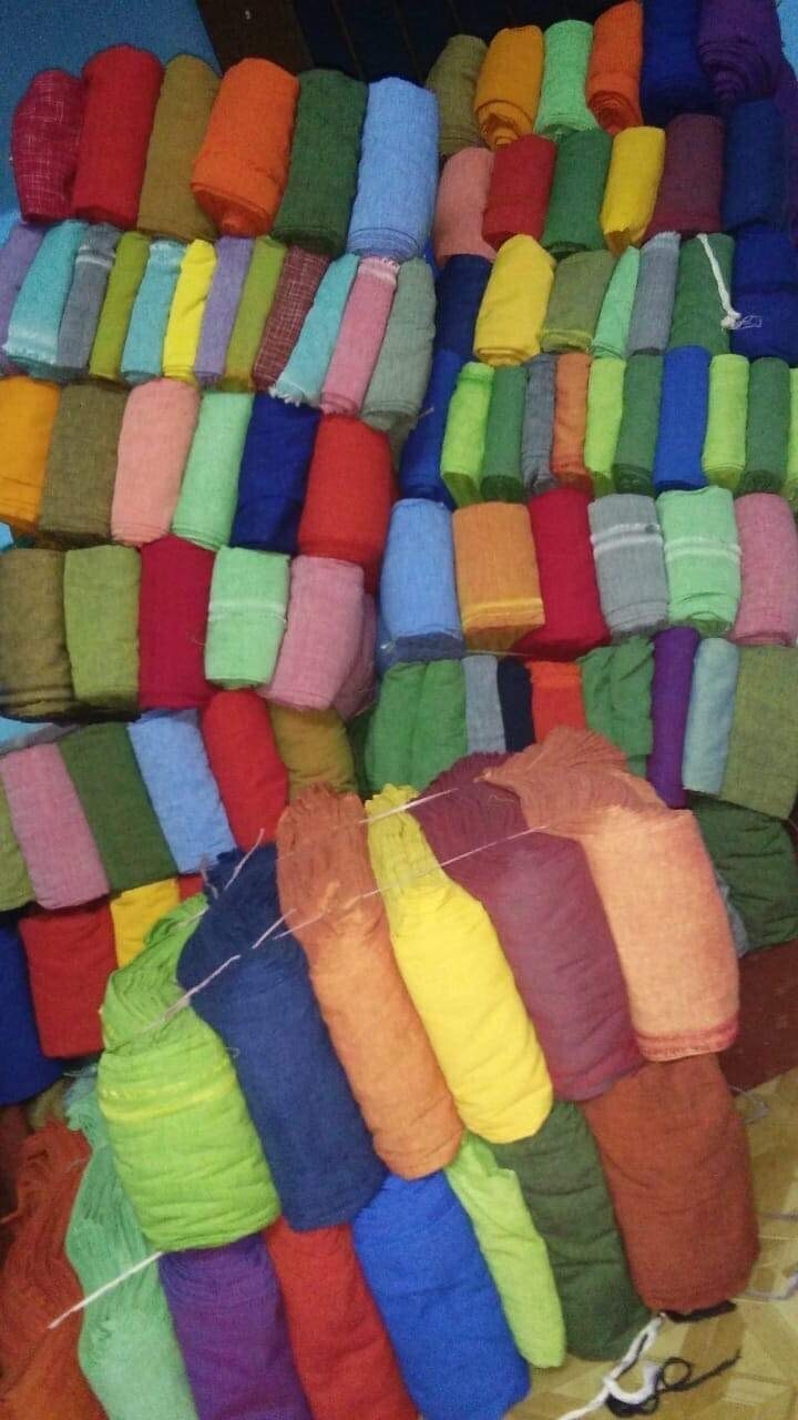 Hand Spun Hand Woven Cotton solid Yarn Dyed Fabric