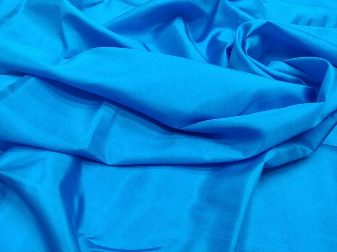 Spanish Blue Mulberry Silk Fabric/100% Pure Silk Fabric, plain silk fabric made with handloom