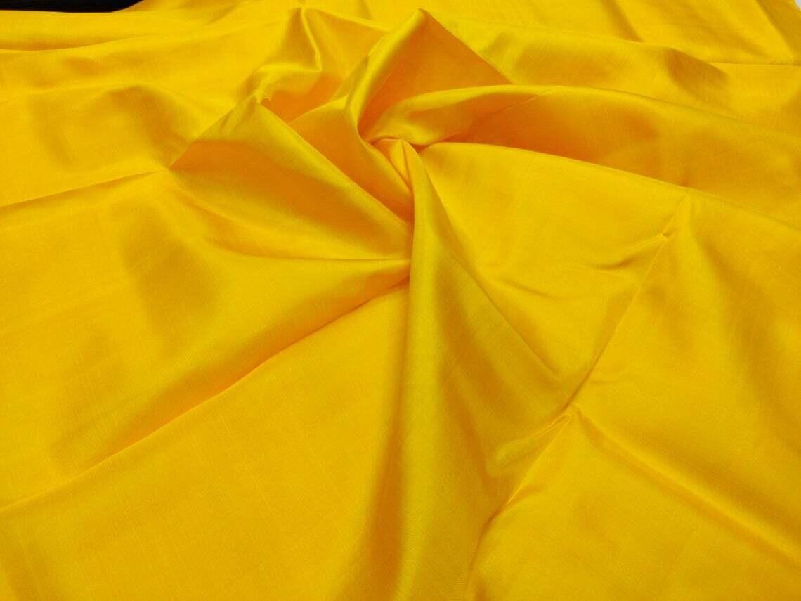 Goldenrod Mulberry Silk Fabric/100% Pure Silk Fabric, plain silk fabric made with handloom,