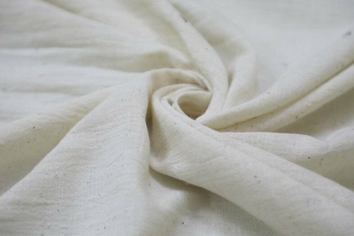 Soft Organic Cotton Muslin Fabric / Unbleached Natural Children clothing fabric baby quilting fabric baby swaddle fabric