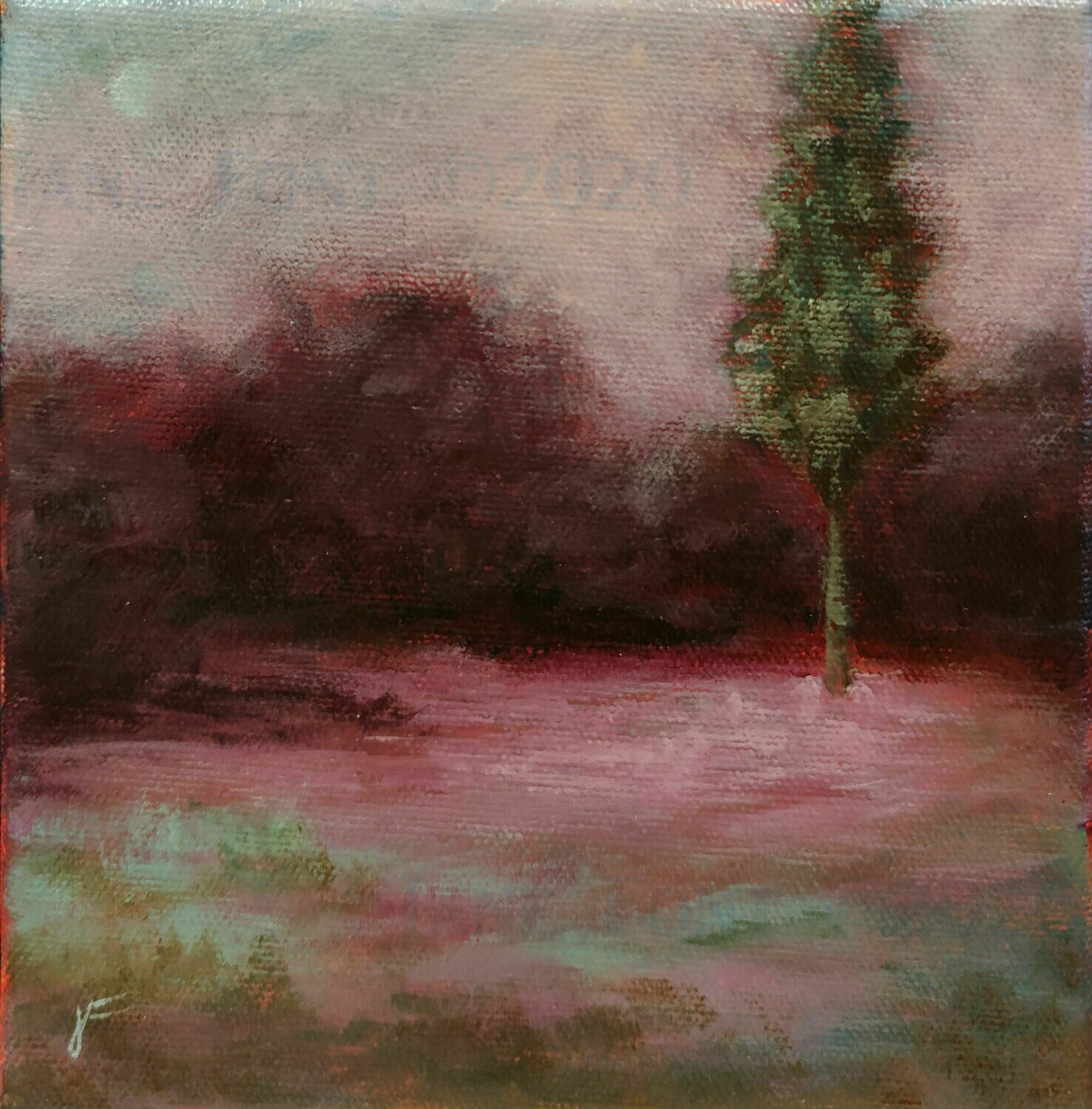 Late Song 1 - Original Acrylic Landscape by Jane Font