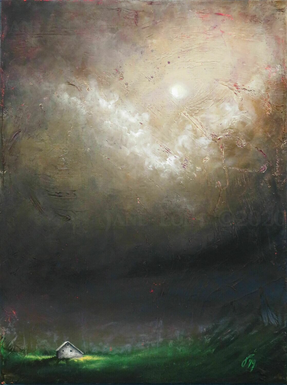 Encounter - Original Finger Painted Landscape by Jane Font